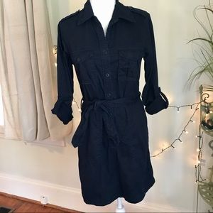 J. Crew Navy Blue Cotton Shirt Dress Belted L/S